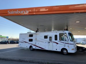 Our RV is on the fuel station forecourt