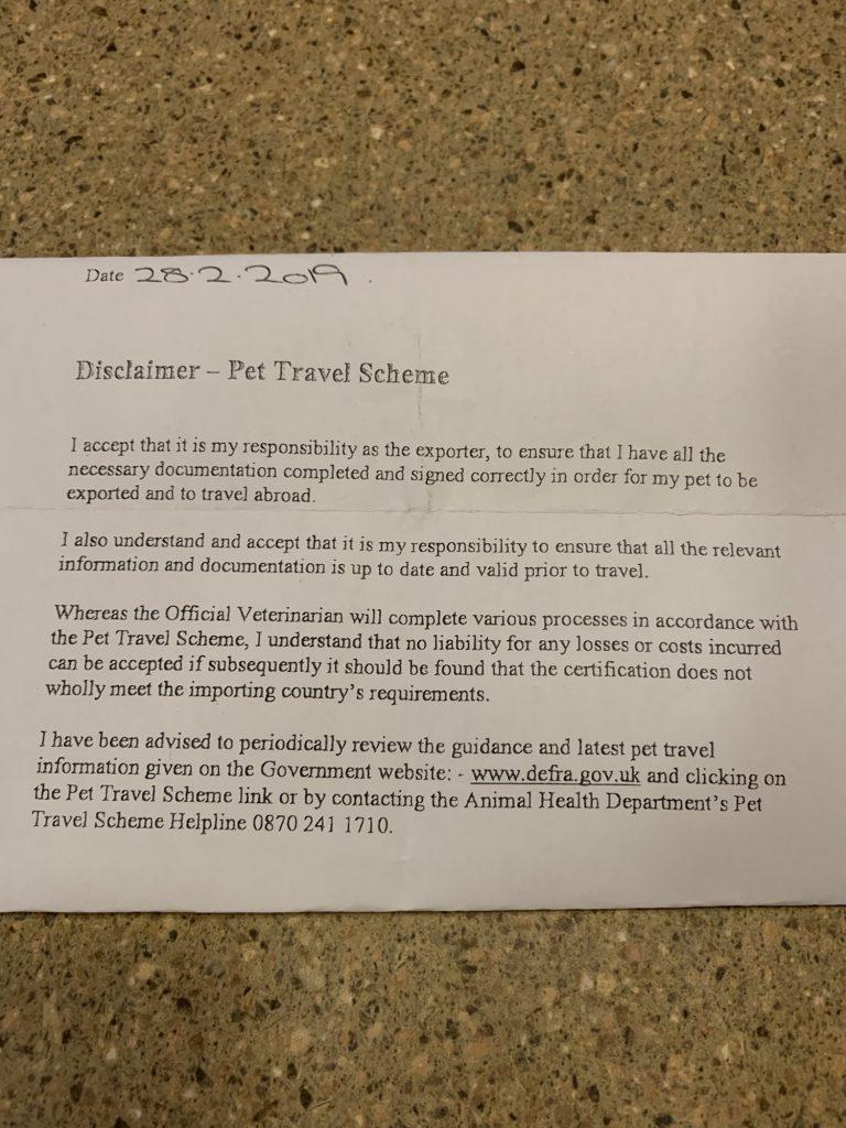 A printed disclaimer