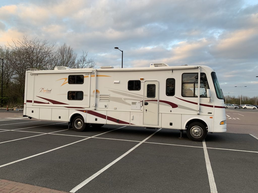 Our Rv parked across six spaces in a car park