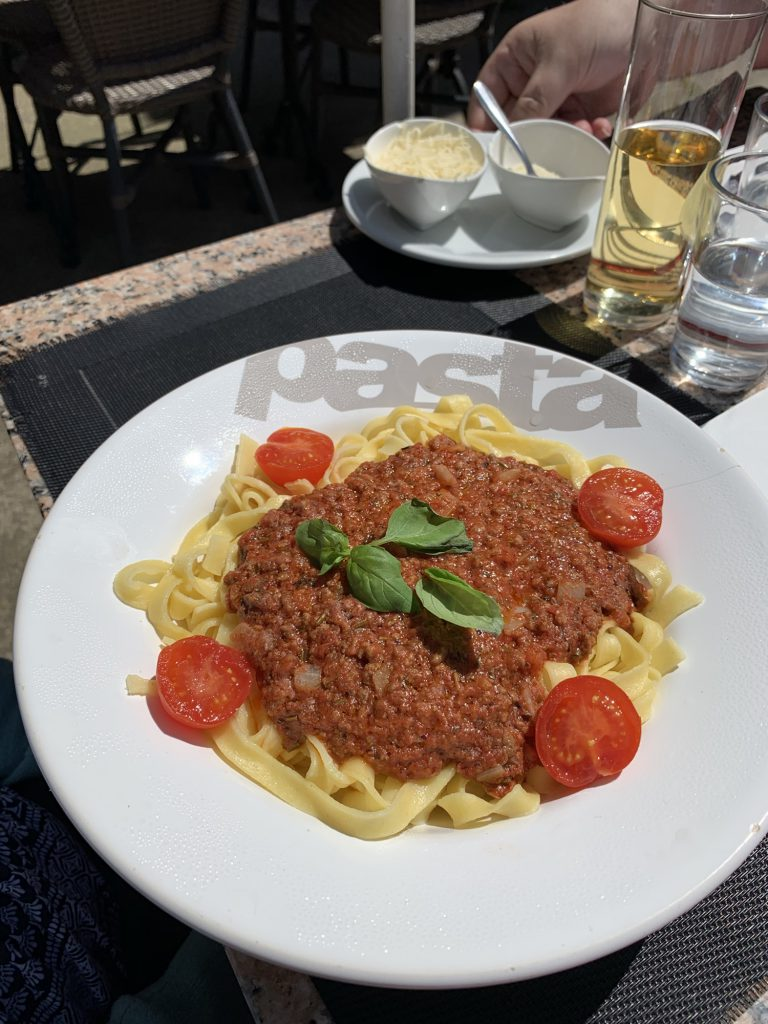 A plate of pasta bolognese