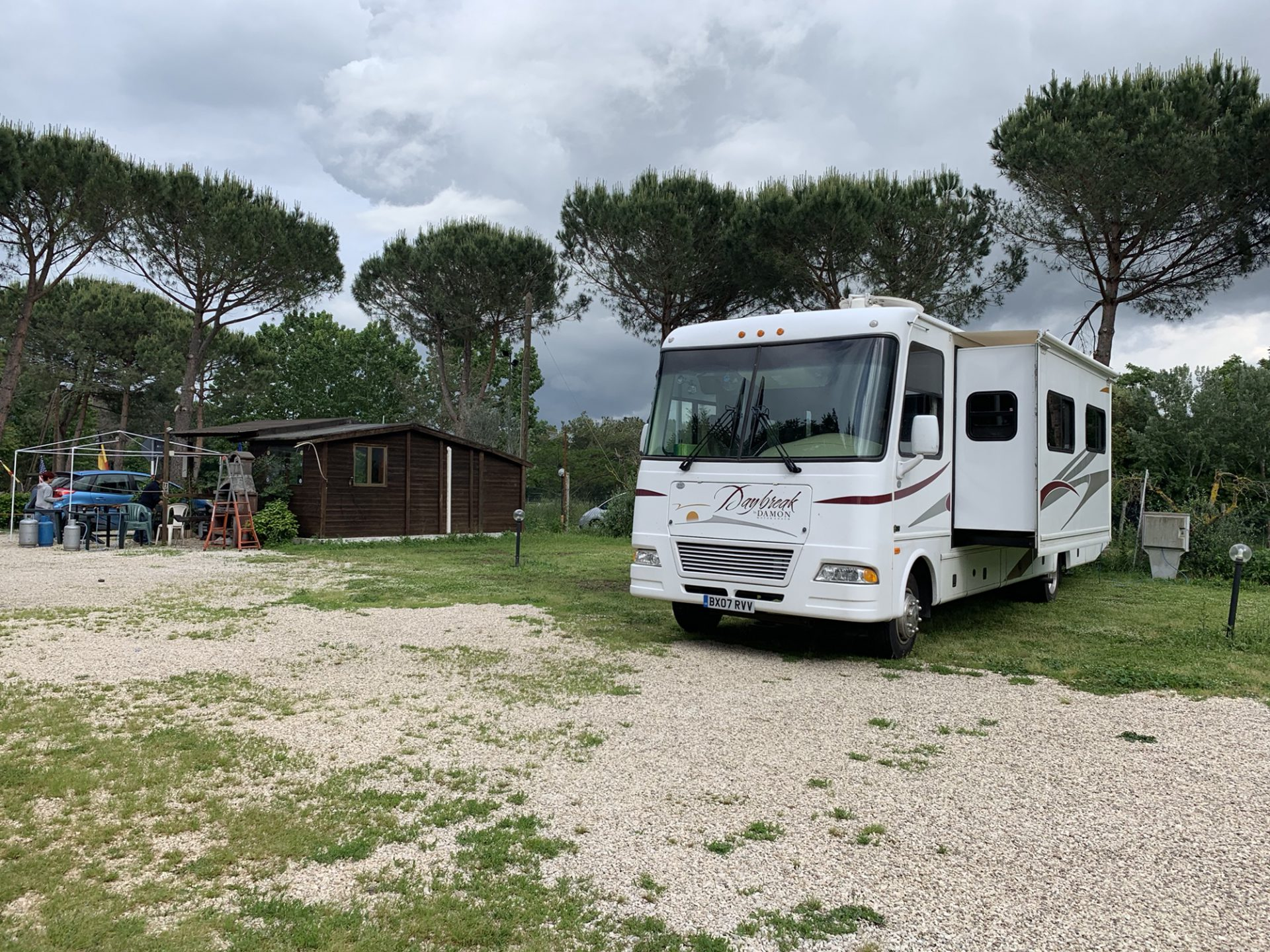 Our RV pitched on the Mira Lago camper club site