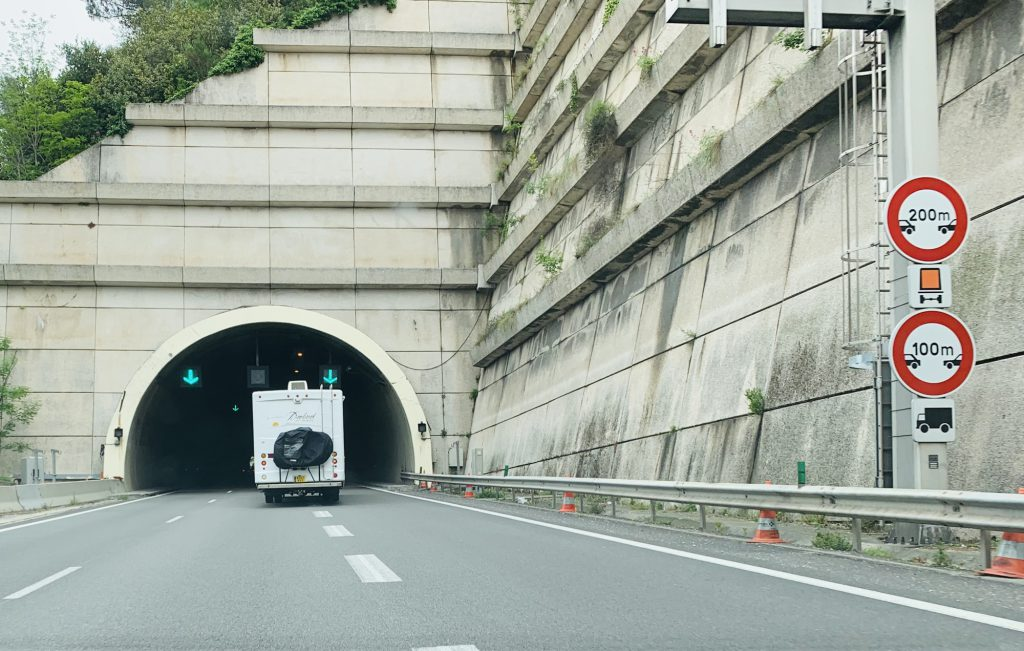 Our RV driving into a tunnel in Italy