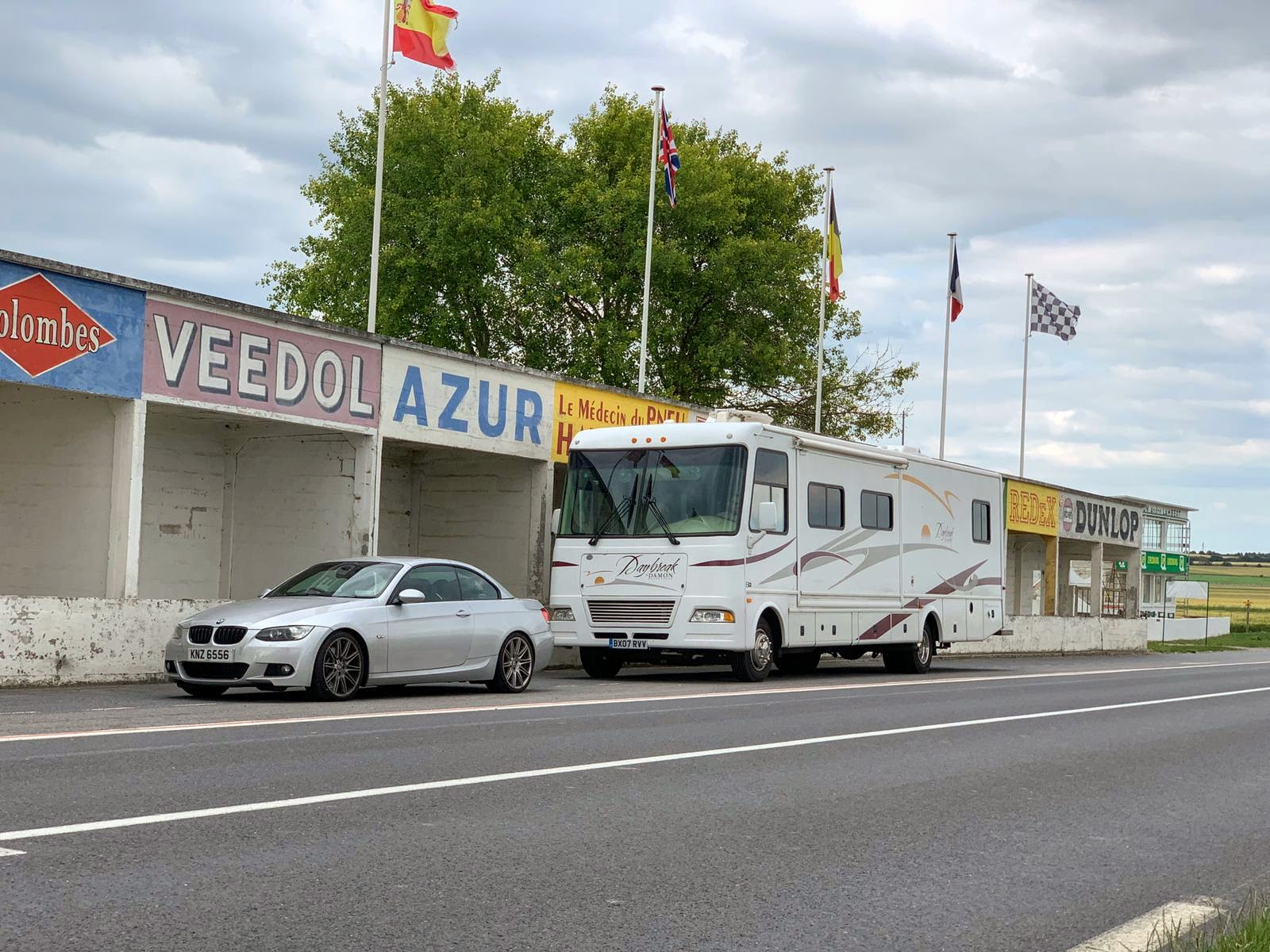 Our RV and our BMW parked at the Reims race circuit
