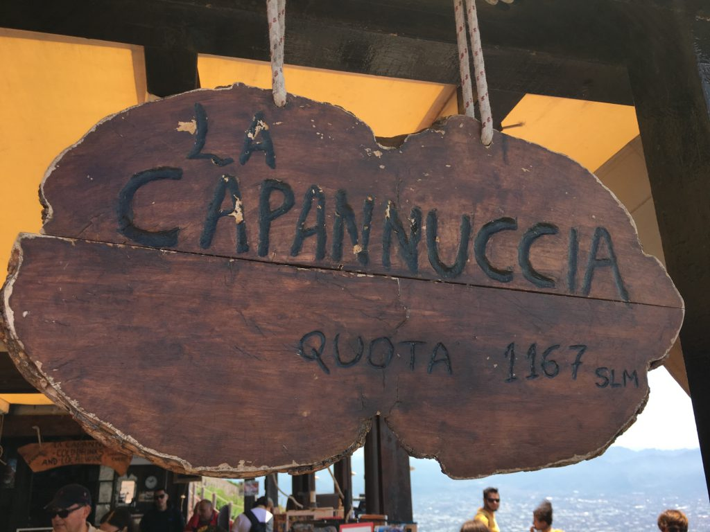 La Capannuccia sign at the top of Mount Vesuvius