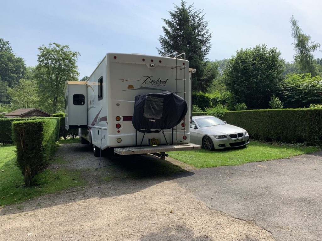 RV and Car on Small pitch in Calais