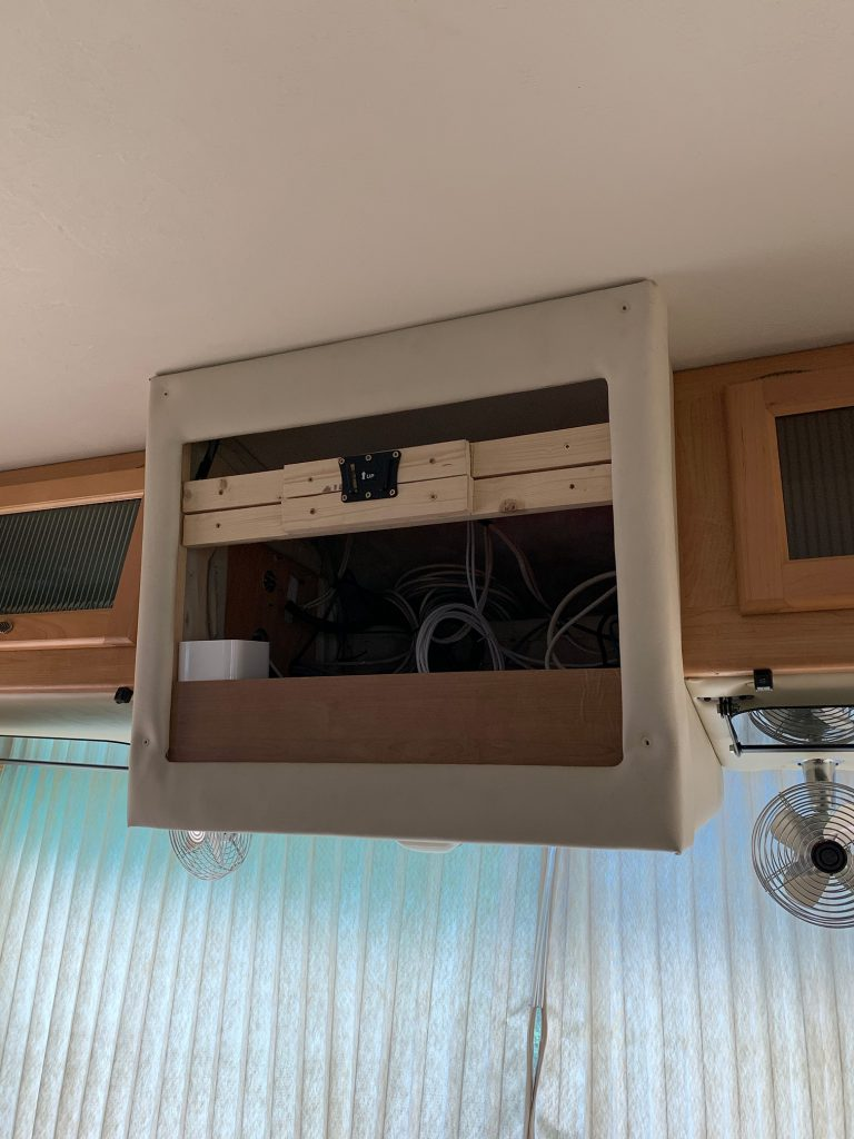 The TV cabinet and mount as it was when we got the RV