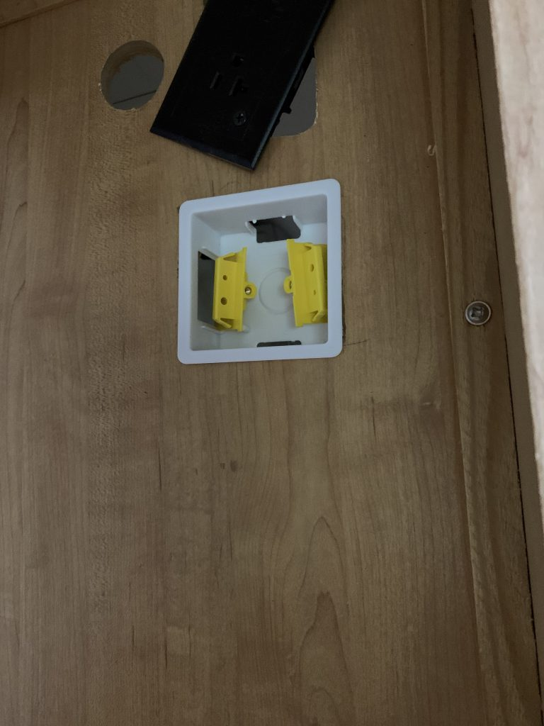The outlet backbox mounted in a wall