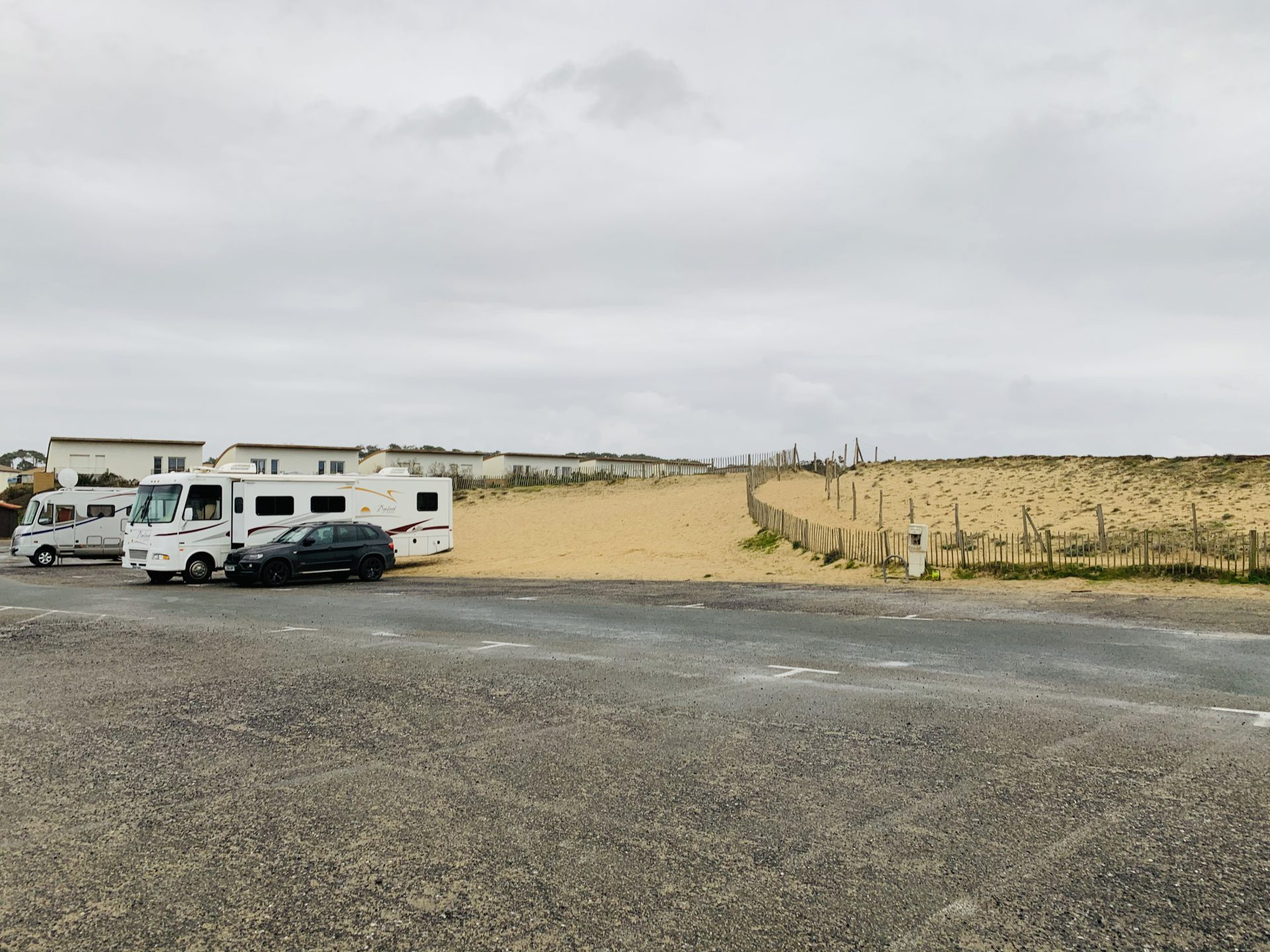 RV and Car Parked in car park at beach